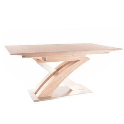 Étkezőasztal, nagyobbítható, 160x90 cm, tölgy-ezüst - STILIAGA